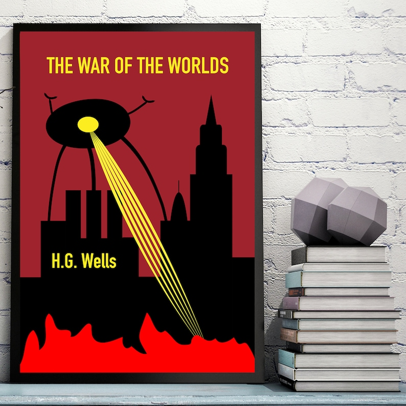 Classic Books The War Of The Worlds Poster Literary Poster H.G Wells Science Fiction Poster Book Poster Literary Gifts