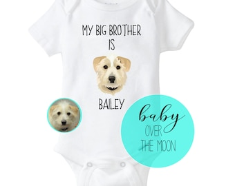 cf7f107b4 Custom My Big Brother / Sister Custom Pet Portrait Onesie Gerber Brand  Bodysuit - Baby Shower Gift Newborn Dog Lover Illustration