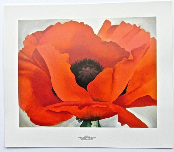 """White and Blue Flower Georgia O/'Keefe Canvas Print Poster 16X12/"""""""