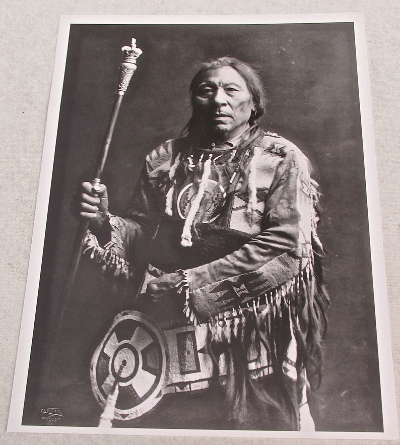 Vintage Photo Reprints of Blackfoot Indian-Running Rabbit by -Edward S  Curtis 12x9 Offset Lithograph