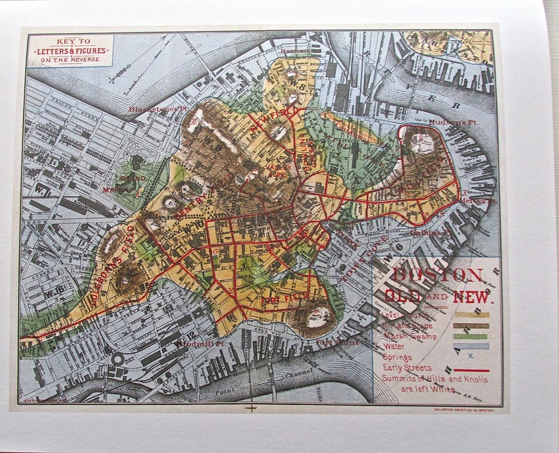 Historic View of Boston 1880 14x11 by Justin Smith  Offset Lithograph