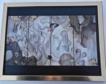 James Jean  - Swan Print in Gold Tone Frame -Custom Framed-Fantasy Art for Nurseries 17x13 Perfect for Children's Room