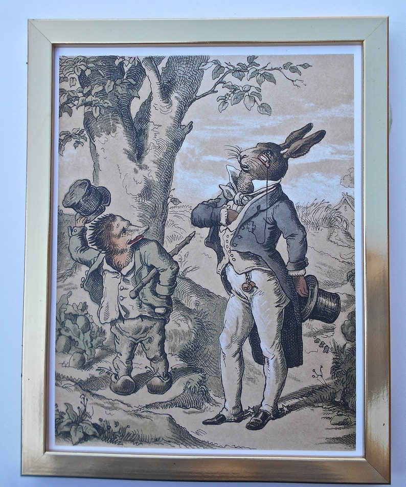 Childrens Art-Gold Framed  Hare and The Hedgehog Art 14 14 x 11 14 Ready to Hang on Your Walls