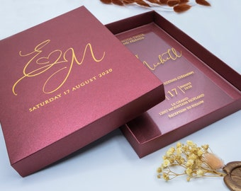 Luxury Wedding Invitation, Acrylic Invitations, Plexiglass Invitation, Clear Invitation With Metalic Paper Box