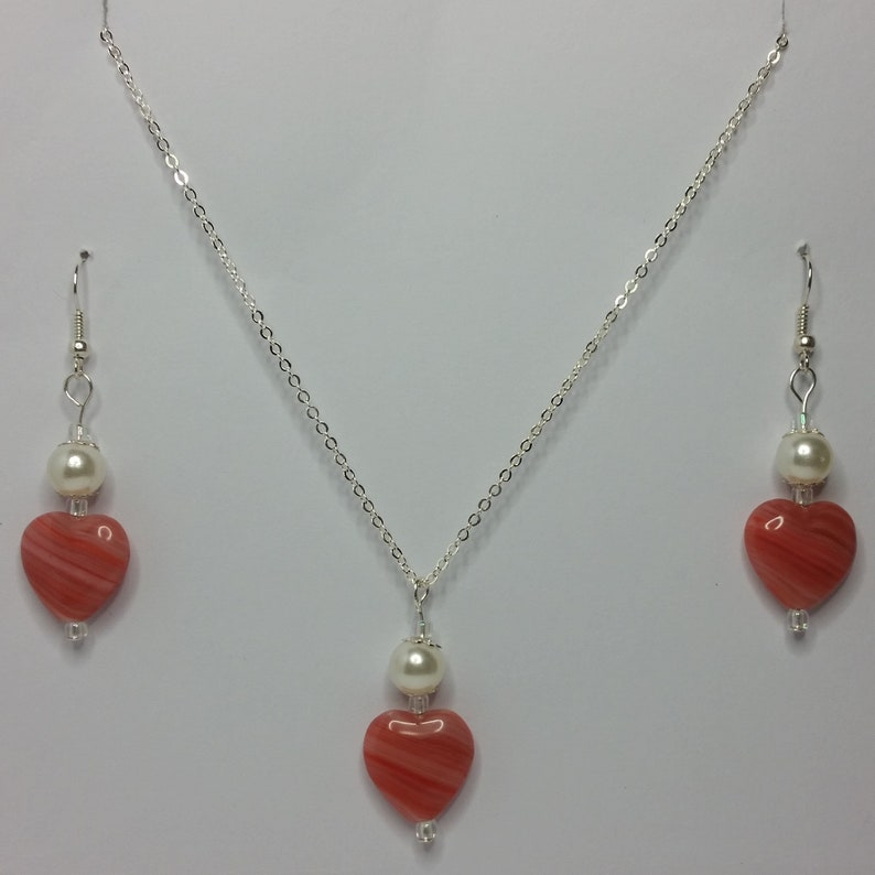 Pink-Red Czech Pressed Heart Earrings and Pendant Set