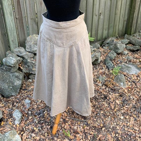 Western style khaki midi skirt - denim, vintage 19