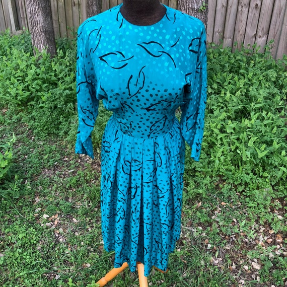Silk peacock blue dress + dolman sleeves, fitted w