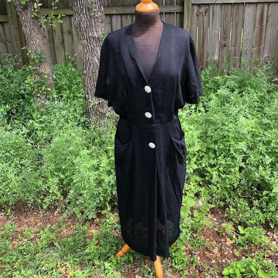 1940s black shirt dress - Jack Mann Original - bla