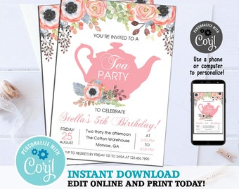 bc0554daf22 Tea Party Invitation Invite Digital 5x7 Watercolor Floral High Tea Birthday  Kids ANY AGE Pink Girls Flowers