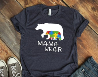 a876001b9dc8 Mama Bear Autism Awareness Shirt