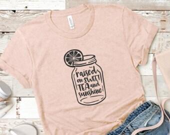 2f634e5d897e49 Raised on Sweet Tea and Sunshine Southern Girl T Shirt