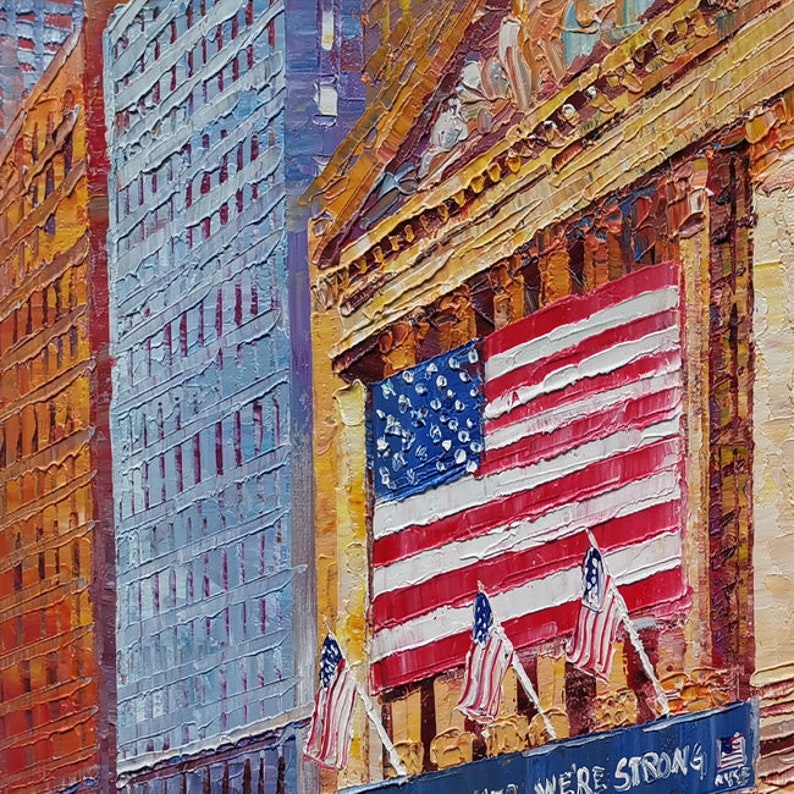 Wall Street Stock Exchange-KoKing Fort-z635-Home Decor Holiday Artwork Texture Painting Dining Wall Art