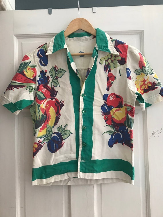 Vintage VTG 1930s 1940s Novelty Print Fruit Shirt