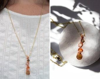 Moldavite, Libyan Desert Glass, Sunstone, Golden Apatite Necklace, Reiki Infused, Healing Stone, Manifest, Crystal, Authentic Certificate