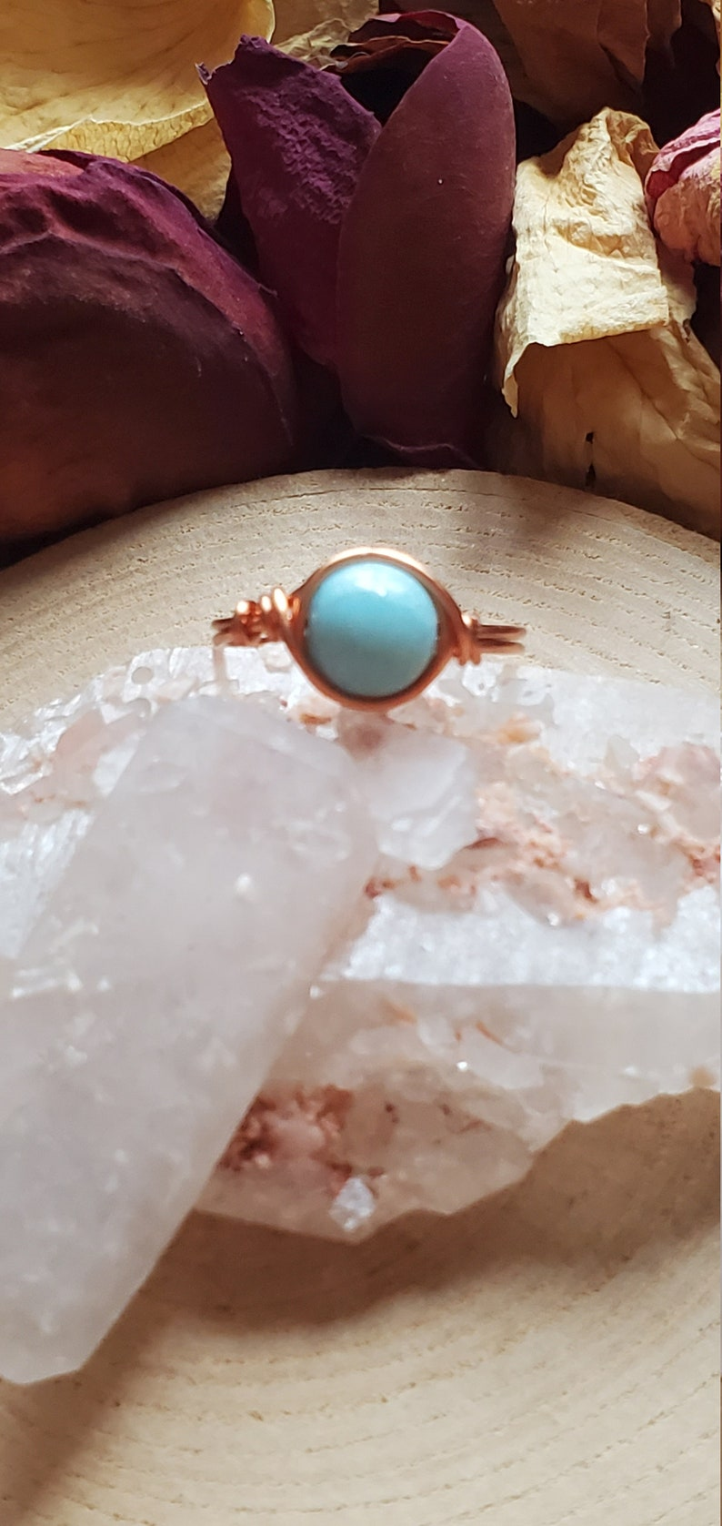 Bohemian Ring Healing Crystal Sea Blue Crystal Custom Made Witch Ring Reiki Infused Larimar Ring Celestial Jewelry Healing Stone
