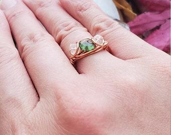 Moldavite Libyan Desert Glass Ring, Reiki Infused, LDG, Moldavite Ring, Tecktite Ring, Libyan Tektite, Golden Tektite, 14k Gold, 925 Silver