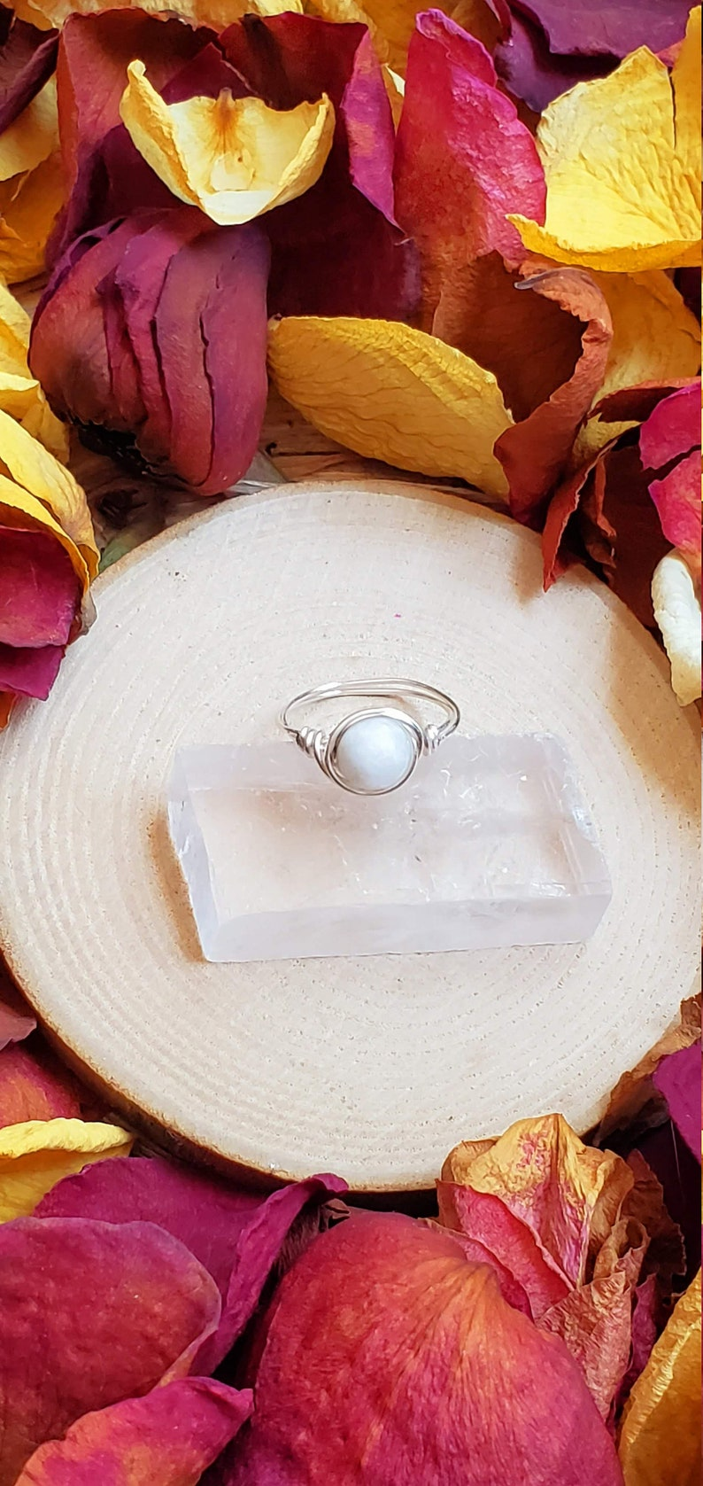 Celestial Jewelry Healing Stone Spiritual Stone Dainty Moonstone Ring Reiki Charged Reiki Infused Healing Crystal Reiki Ring