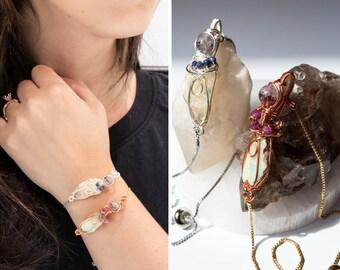 Fire Opal Bracelet, Reiki Infused, Super Seven Sphere, Ruby, Blue Sapphire Accents, Adjustable Snake Chain, Adjustable Bracelet, Witch, Boho