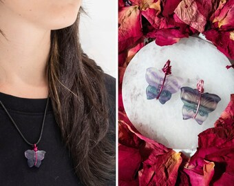 Fluorite Butterfly Necklace, Reiki Infused, Healing Stone, Rainbow Fluorite, Purple, Stone for Students, Study, Purple Pendant, Witch, Boho