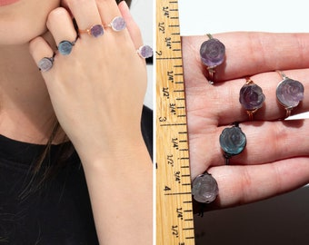 Fluorite Ring, Reiki Infused, Flower, Rainbow, Blue Fluorite, 925 Silver, 14k Rose Gold, Bohemian Rings, Fluorite, Reiki Ring, Witch Ring