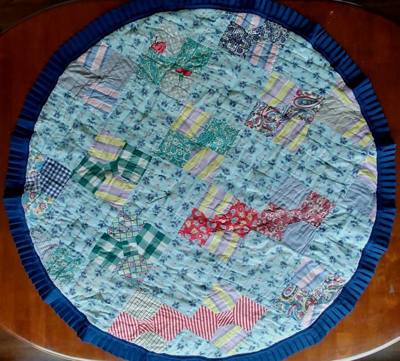 Navy Box Pleated Binding BabyToddler Playmat from Repurposed Mid-Century Bow Tie Quilt Reversible