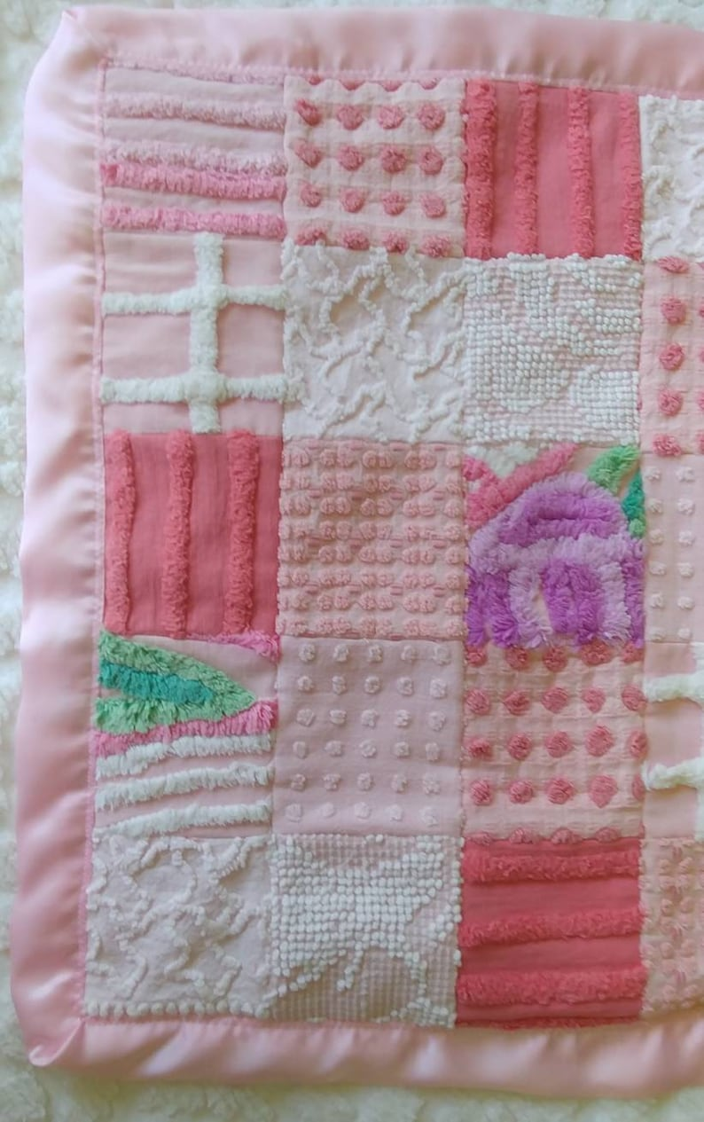 19 x 18.5 Luscious Pinks Vintage Chenille BabyToddler Lovey Security Blanket Mini Blanket