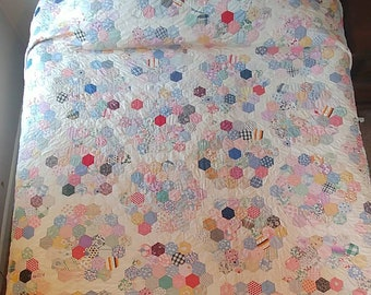 """Antique 1920's Hexagon/Grandmother's Flower Garden Quilt, 92"""" x 81"""", Beautiful Fabrics and Stitching, Collectible Quilt"""