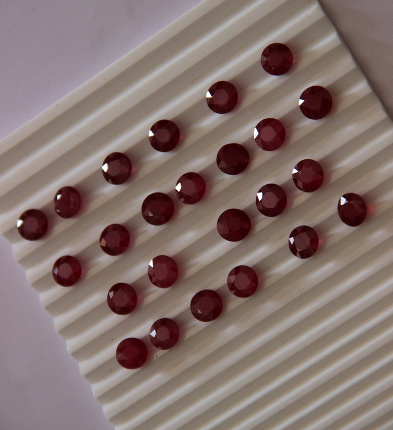 Loose Gem Stone 8 Mm Natural Ruby Cut Stone Faceted Ruby Cut Ruby Gemstone Thai Cut Round Shape calibrated stone perfect mm
