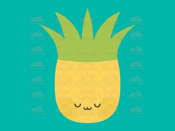 Cute Kawaii Pineapples Vector Clip Art Emote Emoji