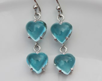 December birthstone fine earrings Sterling Silver wire wrap 1781 Turquoise Earrings blue gemstone genuine turquoise gift for her