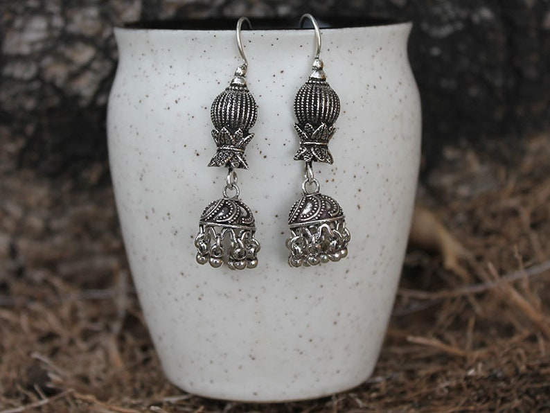 Ethnic Jhumki Oxidized Silver Earring 925 Sterling Silver NEW YEAR PRESENTS