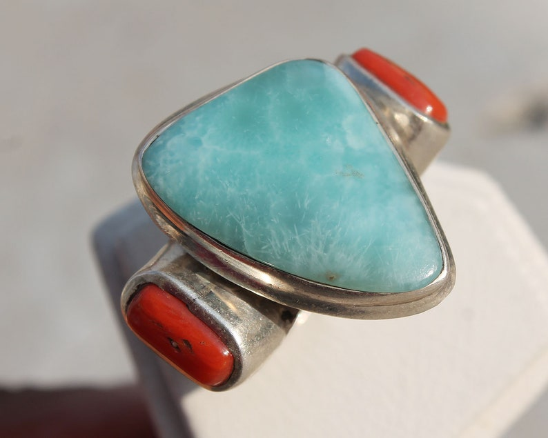 fashion statement Abstract Larimar /& Coral Pure Silver Ring For her and him 925 sterling silver