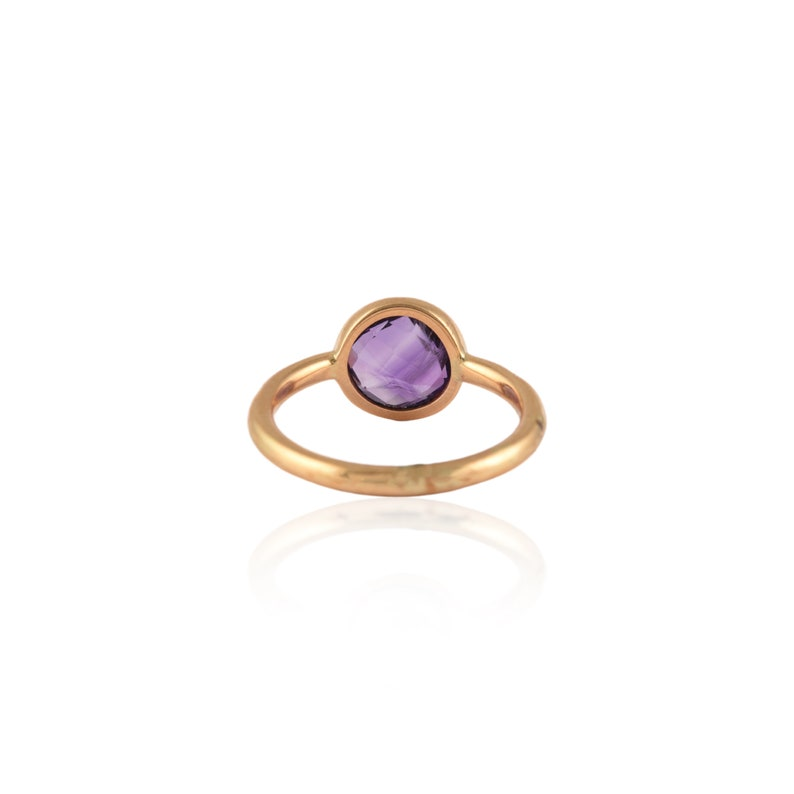 Dainty Gold Ring February Birthstone Stackable Amethyst Ring Solid 18K Gold Ring Elegant Amethyst Ring Simple Ring Solitaire Gold Ring