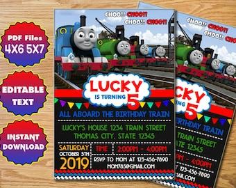 Thomas Train Invitation CMV01 Birthday Printable Party