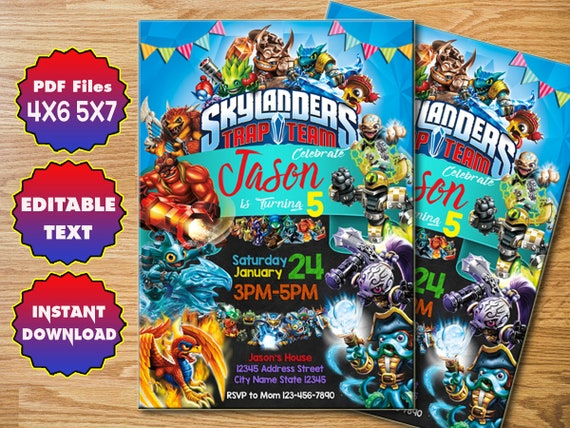 Skylanders Invitation Birthday