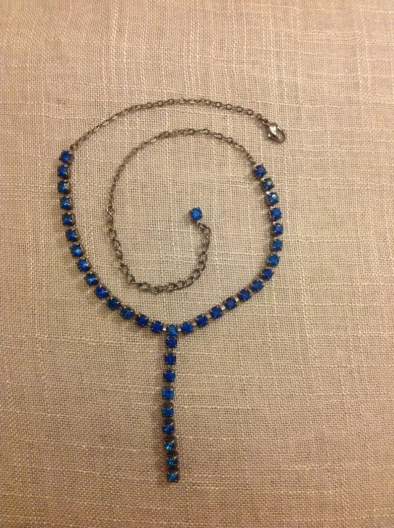 Vintage blue rhinestone necklace 17 inches