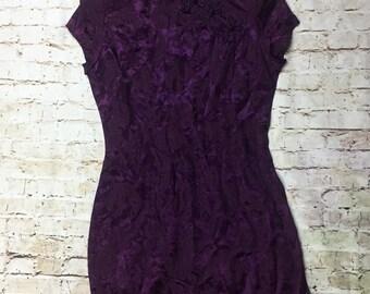 086fb46fd5 Vintage Size 7 8 Asian Mini Dress Short Sleeve Purple Button Up Mandarin  Collar Shoulder Pad Roberta