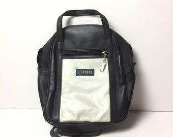 2232c6e58daa Vintage 90 s Liz Claiborne Mini Backpack Shoulder Bag Black White Zipper  Top Handle