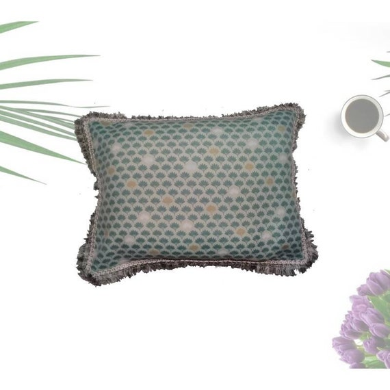 Cotton cushion with parrots and tropical plants rectangular summer theme polyester padding