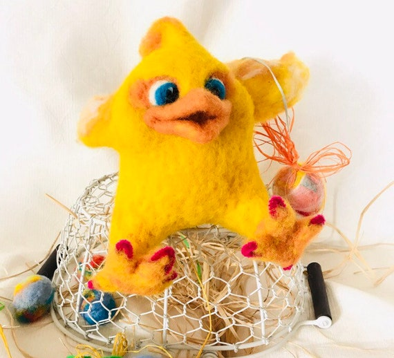 Bird Lover Gift Different Easter Gift Cute Easter Chick Easter Chick Decoration Needle Felted Chick Chick in Egg Fluffy Yellow Bird