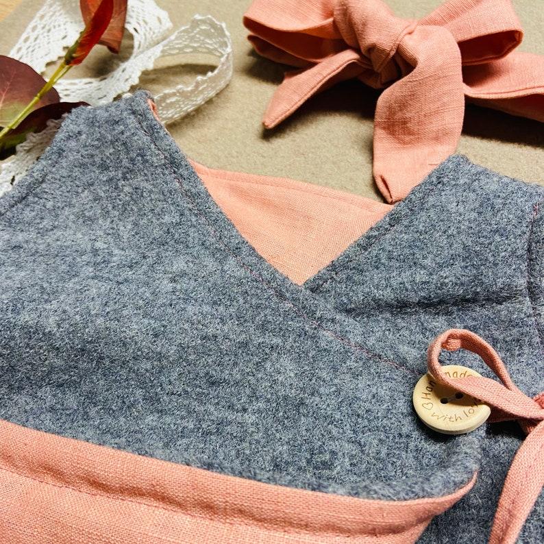 Walk dress reversible dress and free headband virgin wool wish color dress winter warm girl pendant tie dress
