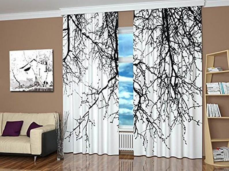 Any size Black /& White Curtains Unique window curtains with print Black branches modern window panels for bedroom living room kitchen