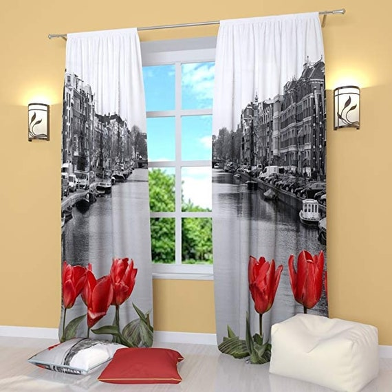 Black White Curtains With Red Flowers | Window Panels For Living room  Bedroom Kitchen | Printed Unique Modern Window Curtain