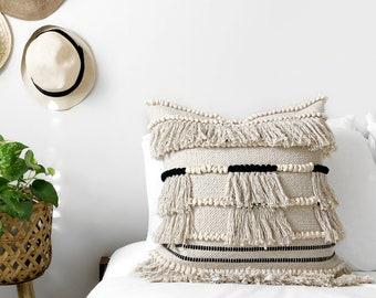 20x20 Ivory & Black Boho Throw Pillow, Fringe Bohemian Pillow, Boho Pillow, Tribal Pillow, Bohemian Pillow, Ebony Pillow