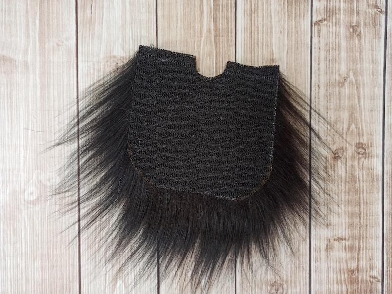 Beard Hair-Handmade Gnome  Gnome-DIY Gnome Supplies-Beard Black Gnome Beard Faux Fur Pre-cut Gnome Beard