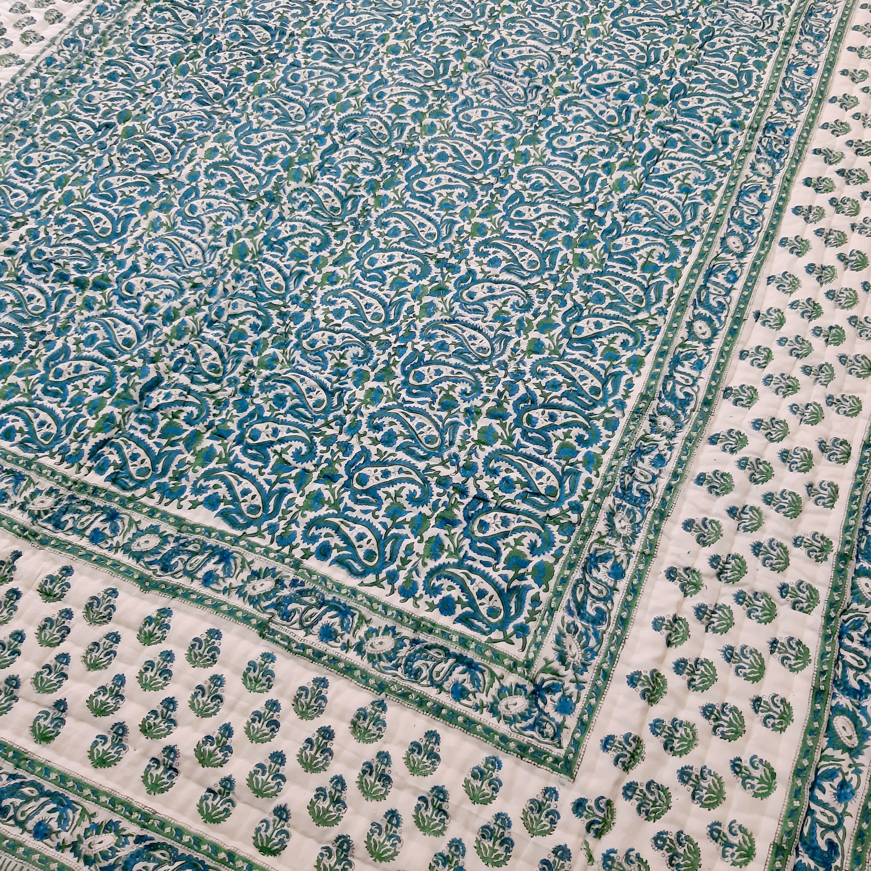 Rajasthani Razai Designer Handmade Double Bed Quilt Cotton Hand block Quilt imprimé Quilts Floral Print Blanket Quilt Taille 90x108 pouces