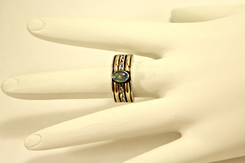 Vintage Suarti Sterling Silver 18K Yellow Gold Rainbow Moonstone Ring Size 5.5