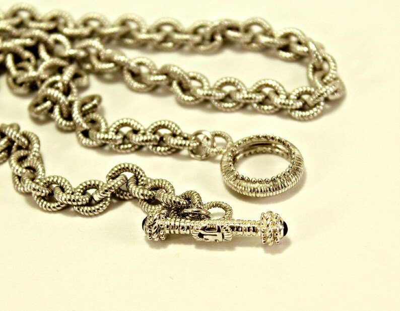 4ceee98b6d8f4 Judith Ripka Sterling 925 JR Initial & Sapphire Stone Toggle Clasp Necklace  18