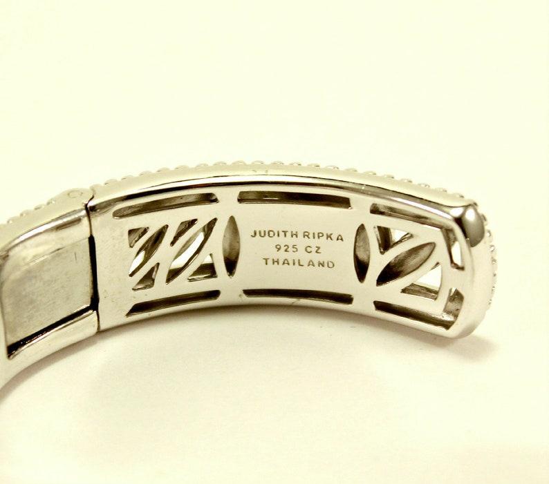 Gorgeous JUDITH RIPKA Sterling Silver 925 Diamonique CZ Hinged Cuff Bracelet