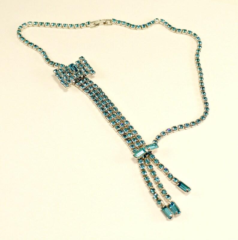 Gorgeous Set Blue Rhinestone Silver Tone Bow Design Necklace Earrings Bracelet